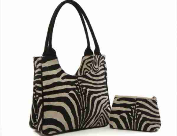 Zebra printed canvas beach tote