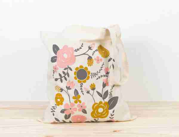 Printed canvas tote with long handle